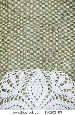 Vintage Background With Lacy On Linen Burlap Texture