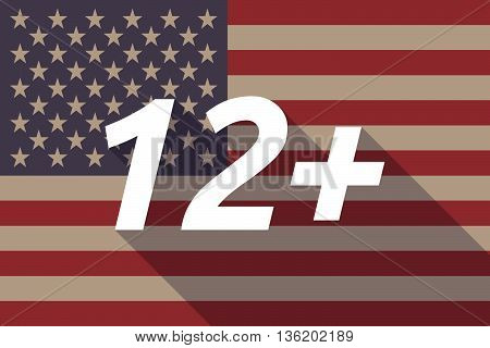 Long Shadow Usa Flag With    The Text 12+