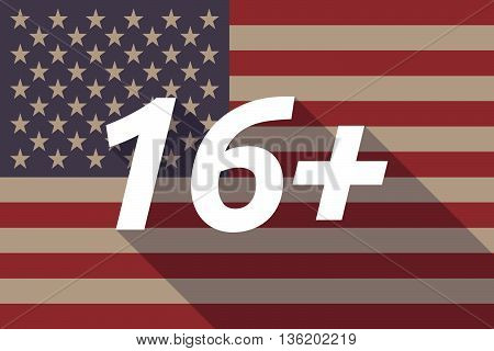 Long Shadow Usa Flag With    The Text 16+