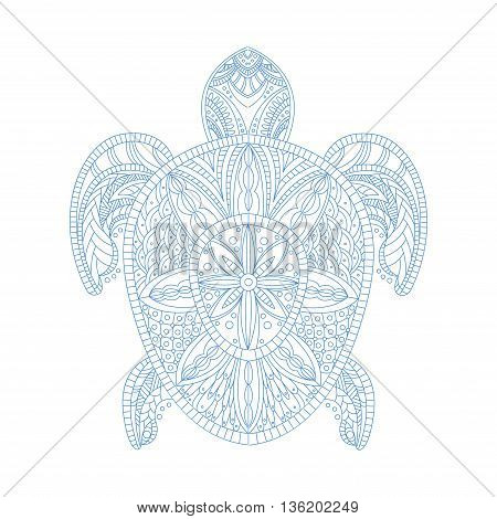 Turtle Stylised Doodle Zen Coloring Book Page Hand Drawn Vector Illustration In Trendy Sketch Style On White Background
