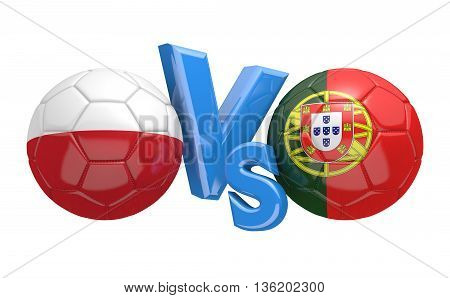 Football competition between national teams Poland and Portugal, 3D rendering