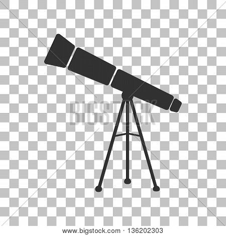 Telescope simple sign. Dark gray icon on transparent background.