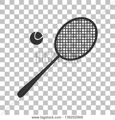 Tennis racquet sign. Dark gray icon on transparent background.