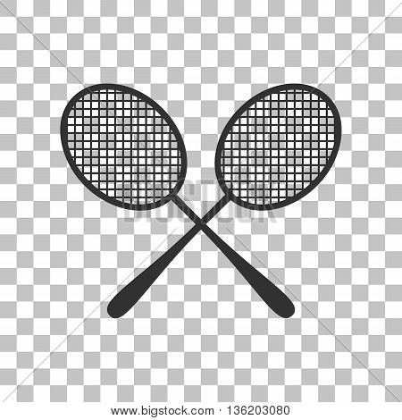 Tennis racquets sign. Dark gray icon on transparent background.