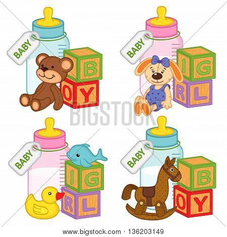 toys and accessories for baby girls and boys - vector illustration, eps