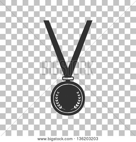Medal simple sign. Dark gray icon on transparent background.