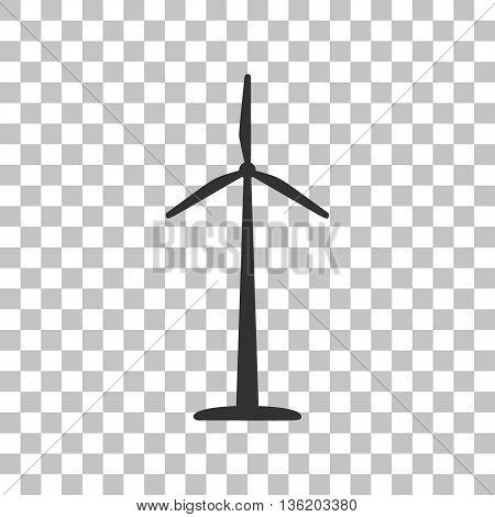 Wind turbine logo or sign. Dark gray icon on transparent background.