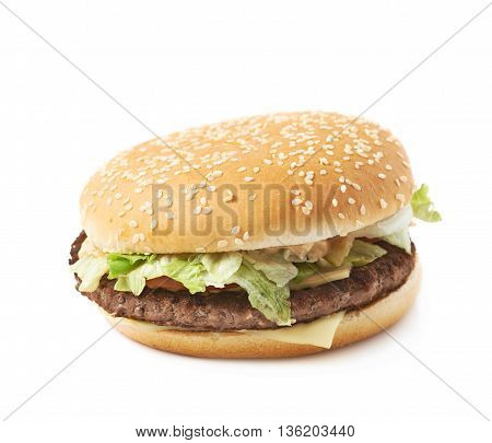 Fresh cooked hamburger isolated over the white background