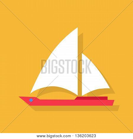 Red boat with white sails icon in flat style isolated on yellow background. Vector illustration