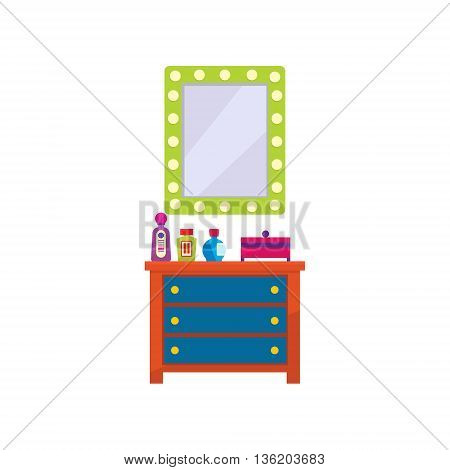Dressing Room Furniture Flat Bright Color Vector Illustration On White Background