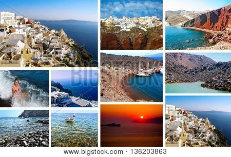 photo collage of Santorini island Cyclades Greece