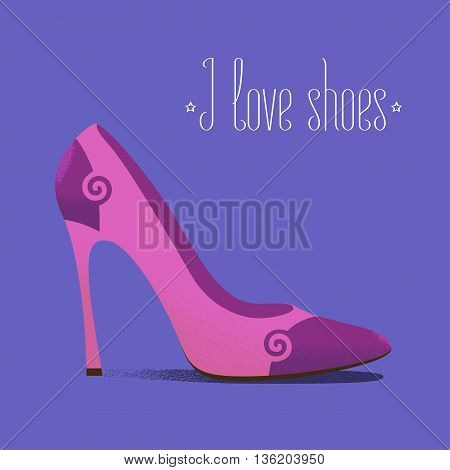 Shoe icon fashion related vector illustration, design element. High heels footwear with I love shoes quote