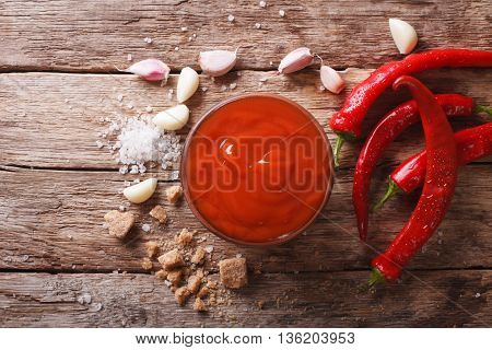 Red Chilli Sauce Sriracha With Ingredients. Horizontal Top View