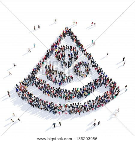 Large and creative group of people gathered together in the shape of a slice of pizza, fast food, eating, image. 3D illustration, isolated against a white background.