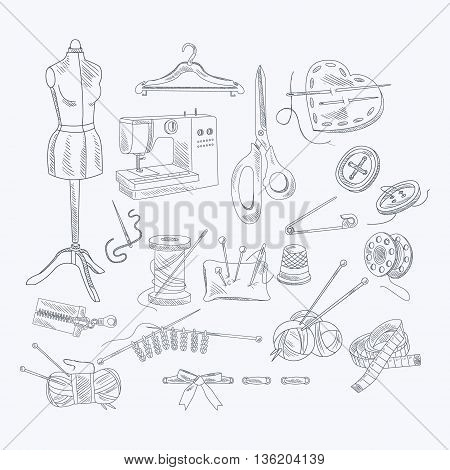 Tailor Shop Equipment Set Hand Drawn Artistic Vector Illustration In Sketch Style On White Background
