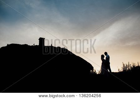 Couple lover holiday happy silhouette sky sunset clouds