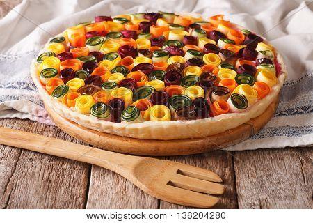Healthy Eating: Summer Vegetable Tart Close-up. Horizontal