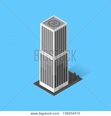 Skyscraper logo building icon. Building and isolated skyscraper, tower and office city architecture, house business building logo, apartment office vector illustration