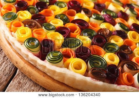 Pie Of Summer Vegetables: Carrots, Beets, Zucchini And Eggplant Close Up. Horizontal