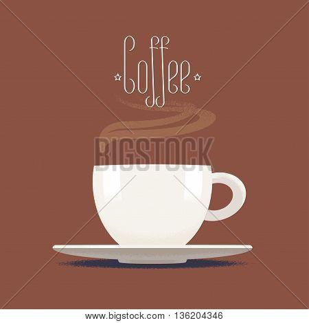 Coffee cup with steam vector illustration, design element, icon, background. Cappuccino, espresso image