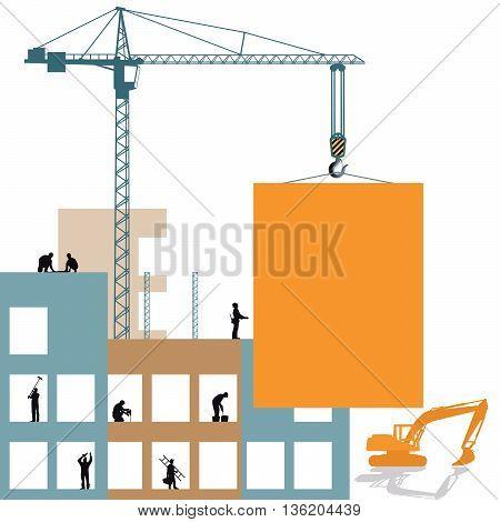 Construction project development, craftsman, crane, handicraft, building, workers