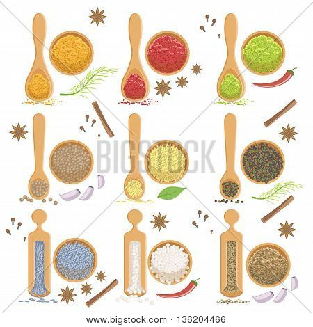 Powdered Spices Bowl And Corresponding Spoon Set Flat Simplified Cartoon Style Bright Color Vector Illustration On White Background