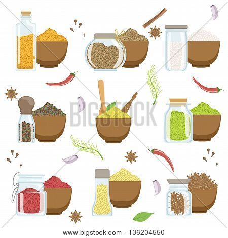 Spices In A Bowl And Glass Container Set Flat Simplified Cartoon Style Bright Color Vector Illustration On White Background