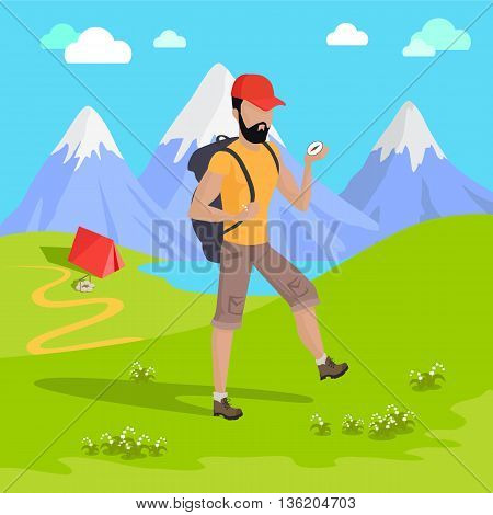 Man traveler with backpack hiking equipment walking in mountains. Mountain tourism concept in cartoon design style. Vector illustration