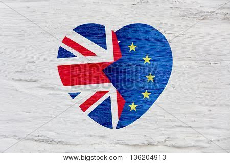 Brexit icon. British flag. EU flag. Broken heart symbol of exit of Great Britain out of the European Union.