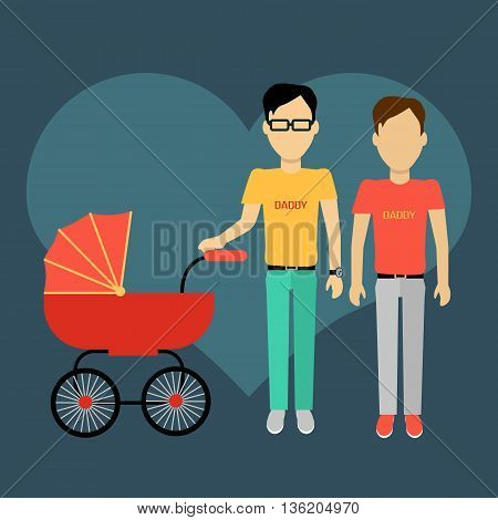 Father gay with a baby carriage banner design flat. Parents homosexual walking with baby in baby carriage. Daddy young happy with toddler, male and fatherhood, love and happiness, vector illustration