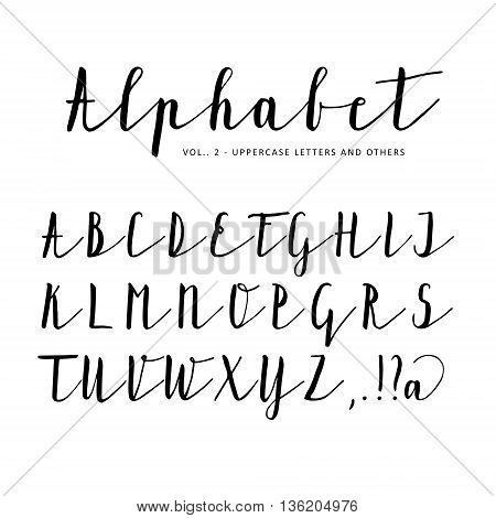 Hand drawn vector alphabet font isolated letters written with marker or ink