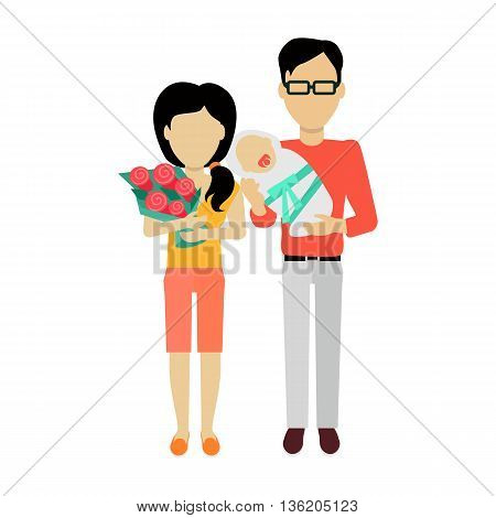 Happy family concept banner design flat style. Young family man and a woman with a newborn baby and a bouquet of flowers. Mother and father with child happiness lifestyle, vector illustration