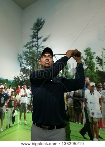 Da Nang, Vietnam - Jun 20, 2016: Tiger Woods wax statue on display at Ba Na Hills mountain resort. He is an American professional golfer among the most successful golfers of all time.