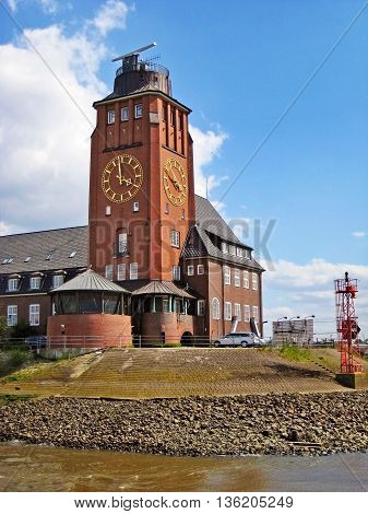 Hamburg Germany - May 24 2008: Building of Hamburg Harbor Pilots Association (Lotsenhaus Seemannshoft) at the entrance to the port of Hamburg river Elbe Germany