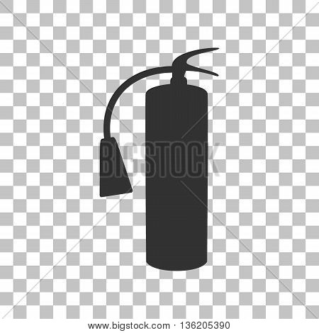 Fire extinguisher sign. Dark gray icon on transparent background.
