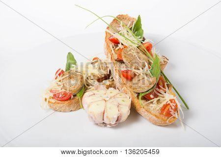 Bruschetta. Italian sandwich on a white plate