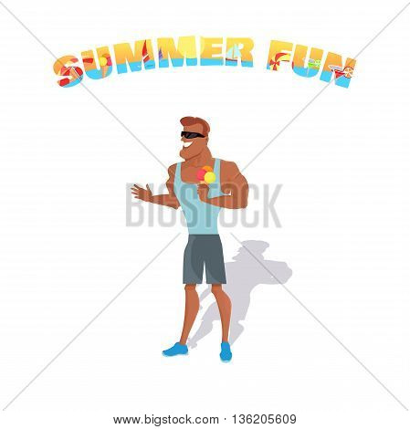 People relax in the summer isolated on white background. Man eating ice cream. Summer person young and happy relax isolated. Vector illustration