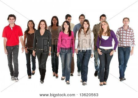 group of young people walking and smiling isolated over a white background