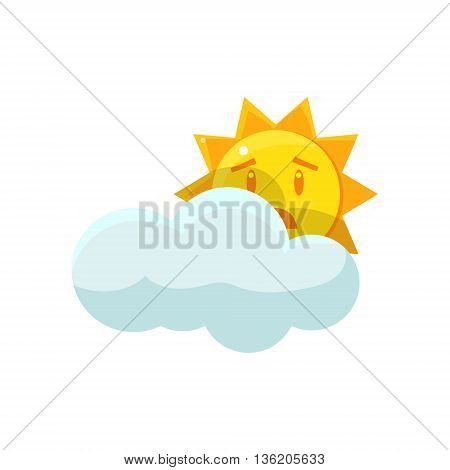 Sun Hiding Behind The Cloud Cute Childish Style Bright Color Design Icon Isolated On White Background