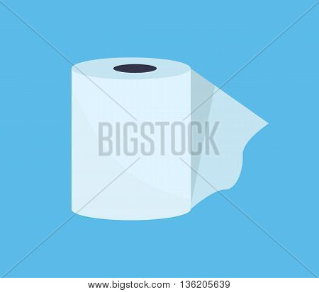 Toilet paper web banner flat design style. Paper roll for hygiene toilet or restroom or bathroom, sanitary wipe soft clean for lavatory, fresh accessories cleanse for care, vector illustration