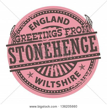 Grunge color stamp with text Greetings from Stonehenge, England, vector illustration