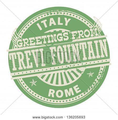 Grunge color stamp with text Greetings from Trevi Fountain, Rome, vector illustration