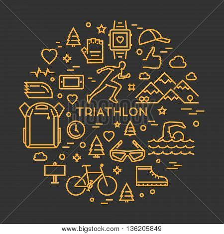 Vector linear prints on T-shirts for triathlon. Line round concept for triathlon. Open path.