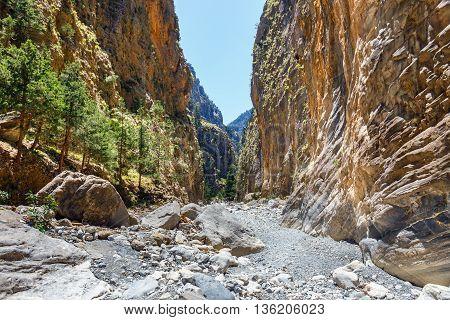 Samaria Gorge in central Crete in Greece