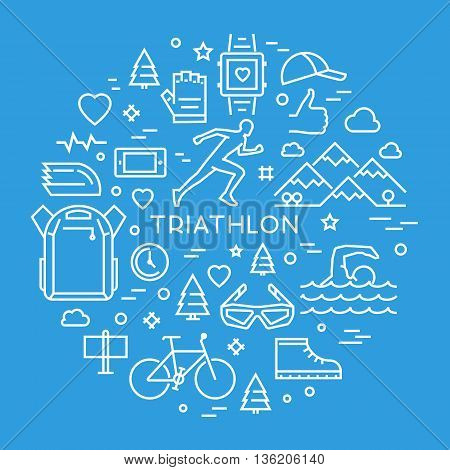 Cool line concept for triathlon. Linear creative style banner for web. Open path.