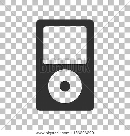 Portable music device. Dark gray icon on transparent background.