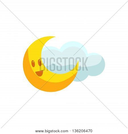 Happy Crescent And Cloud Cute Childish Style Bright Color Design Icon Isolated On White Background