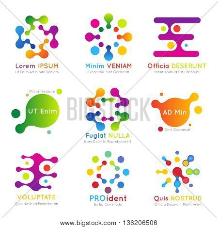 Molecular vector business logo set. Business molecular logo, abstract technology logo illustration