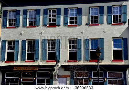 Baltimore Maryland - July 22 2013: 18th century brick building on the historic Thames Street waterfront at Fells Point