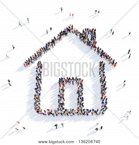 Large and creative group of people gathered together in the shape of house image. 3D illustration, isolated against a white background.